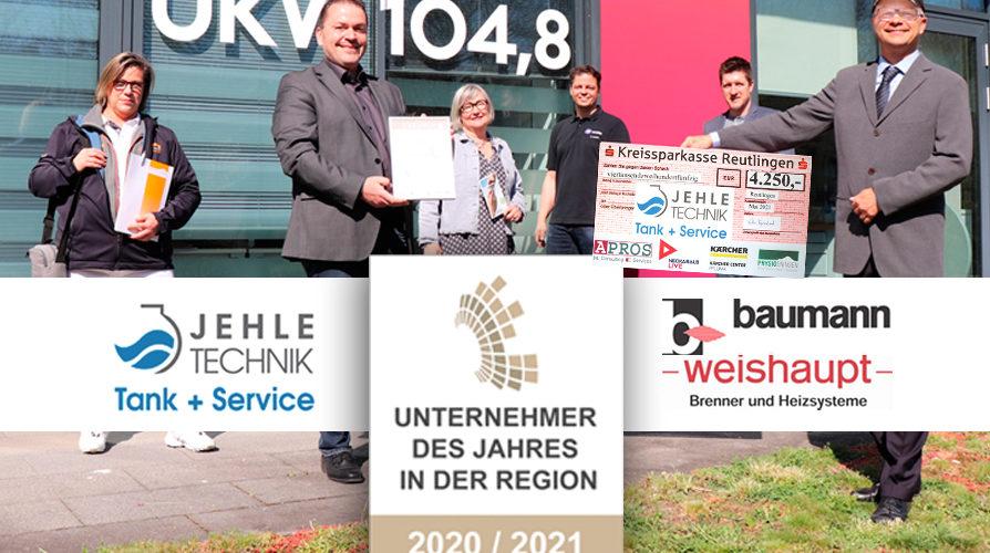 Jehle Technik GmbH + Baumann Weishaupt Werksvertretung - 'Unternehmer des Jahres Region Reutlingen 2021'